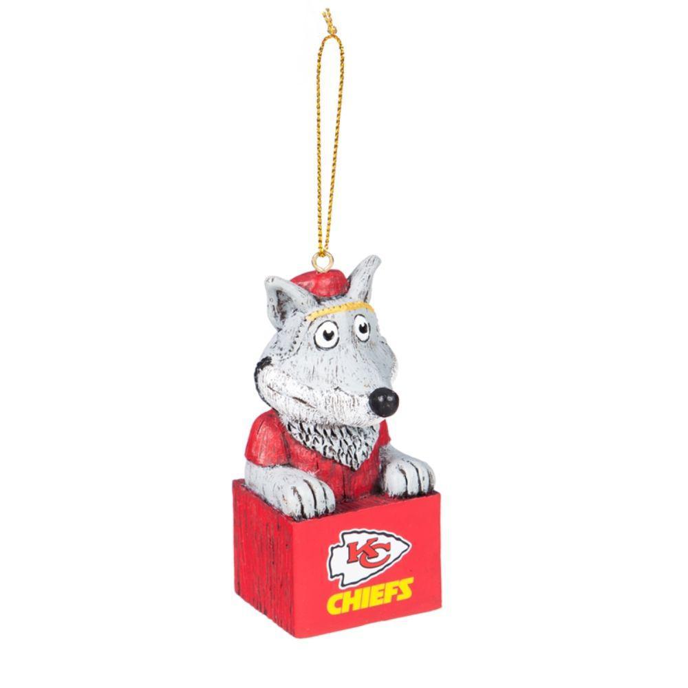 Team Sports America Kansas City Chiefs 1-1/2 in. NFL Mascot Tiki Totem Christmas Ornament