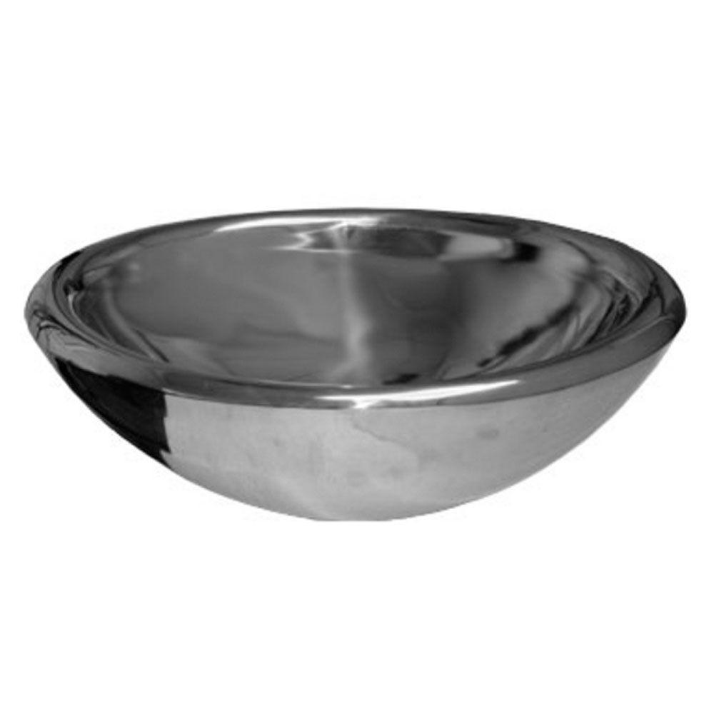 Above Mount Vessel Bathroom Sink In Polished Stainless Steel