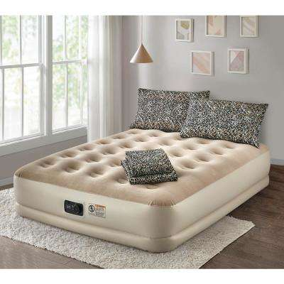 Deluxe 16 in. Queen Air Mattress with Complete Leopard Bedding Set