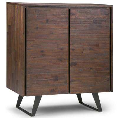 Lowry Solid Acacia Wood and Metal 39 in. Wide Modern Industrial Medium Storage Cabinet in Distressed Charcoal Brown