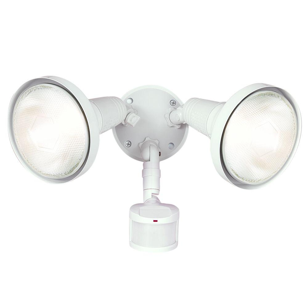 All-Pro 180-Degree White Motion Activated Sensor Outdoor Security Flood Light with Lamp Cover