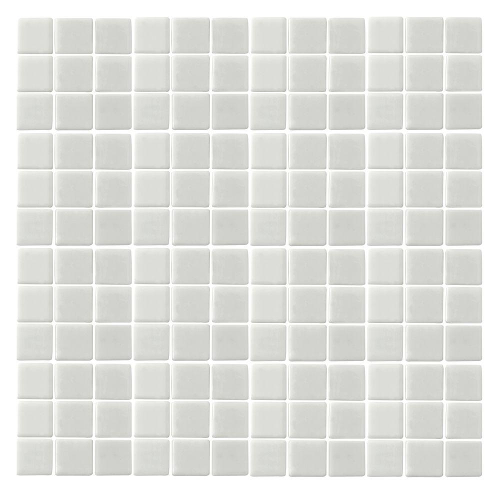 Epoch Architectural Surfaces Oceanz O-White-1720 Mosiac Recycled Glass Anti Slip Mesh Mounted Floor and Wall Tile - 3 in. x 3 in. Tile Sample