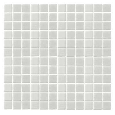 Oceanz O-White-1720 Mosiac Recycled Glass Anti Slip Mesh Mounted Floor and Wall Tile - 3 in. x 3 in. Tile Sample