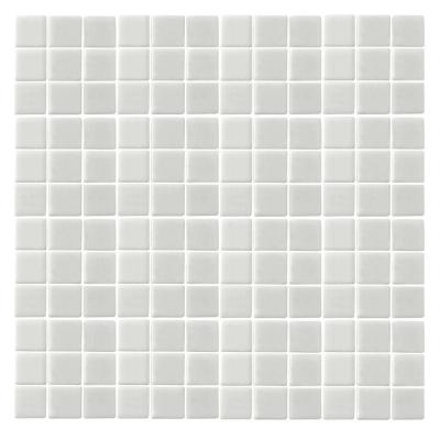 Oceanz O-White-1720 Mosaic Recycled Glass Anti Slip 12 in. x 12 in. Mesh Mounted Floor & Wall Tile (5 sq. ft. / case)