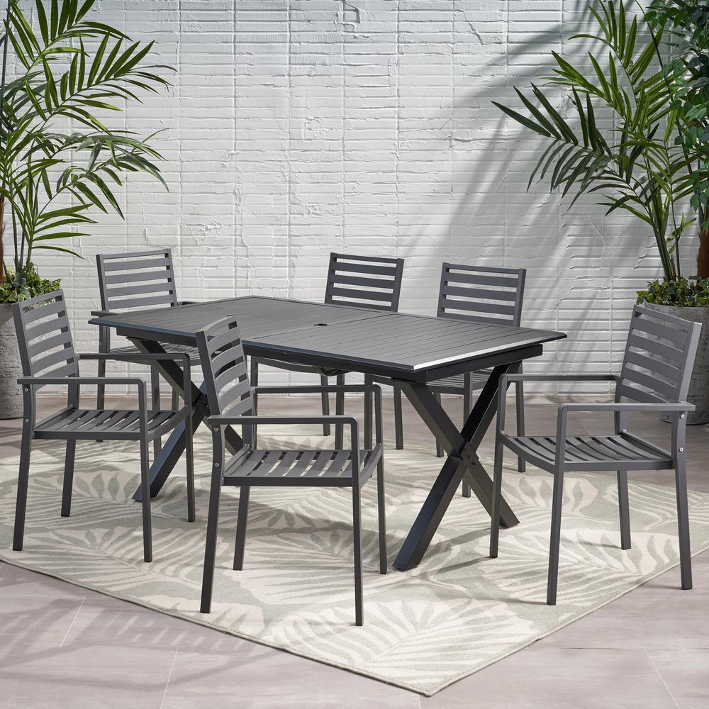 Pabara 28.75 in. Black 7-Piece Aluminum Rectangular Outdoor Dining Set