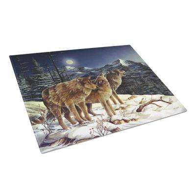 Wolf Wolves Crying at The Moon Tempered Glass Large Cutting Board