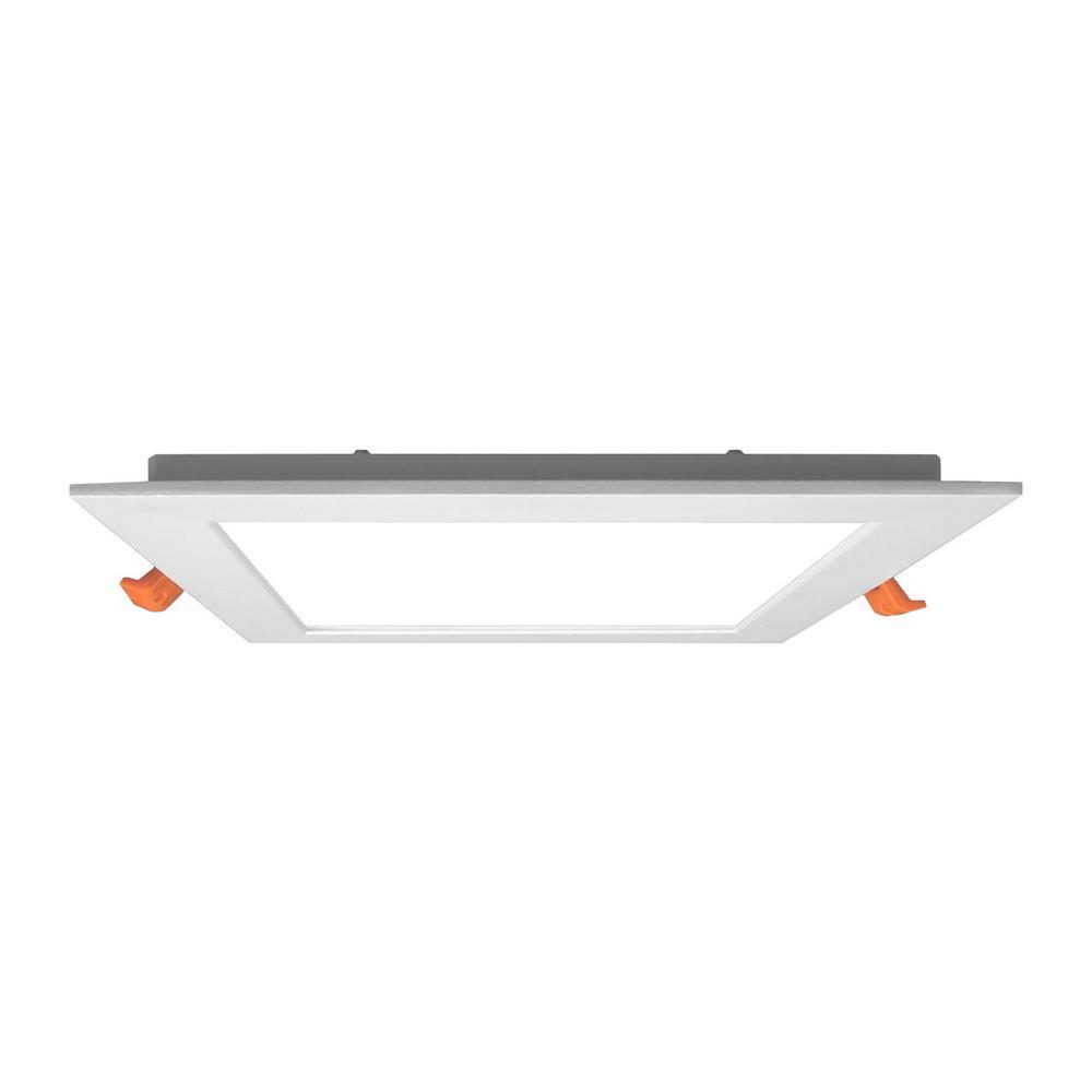 edgelit 6 in square white powder coat integrated led recessed kit
