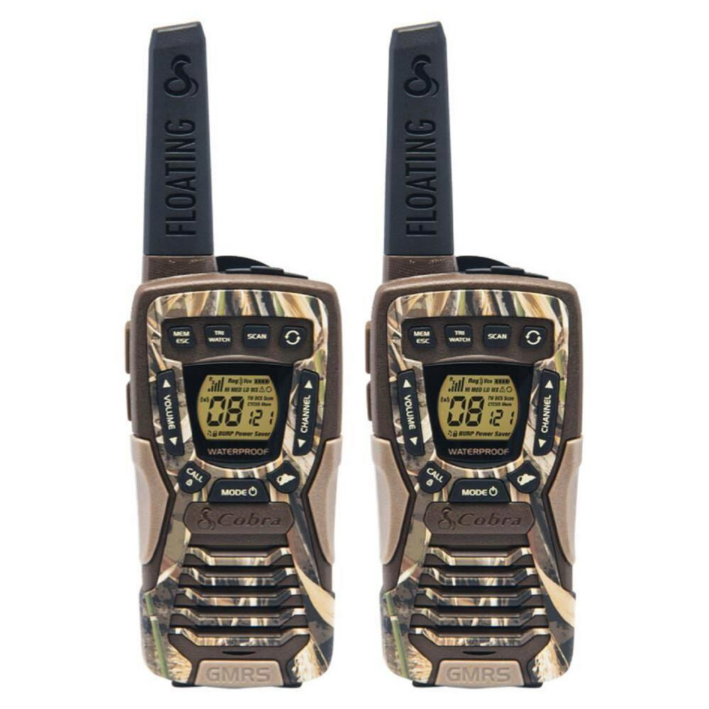 Cobra 37-Mile Range Rugged and Floating 2-Way Radio, Camo This Cobra 37-Mile Range, 22-Channel 2-Way Radios (pair) have a rugged design that floats and feature RealTree Max-4 pattern design. The perfect radio for your next hike, camping trip or other outdoor adventure, these compact radios with rubberized grip are easy to carry in wet or dusty environments. If you do drop them in water, they're waterproof (IPX7 standard) and will float. Combine 22-channels with privacy codes to prevent interference from other radios. An LED flashlight in the bottom of the radio provides additional light on your trip. User's voice is detected with Voice-Activated Transmission (VOX), radio transmits without need to press any buttons. With a built-in NOAA Weather and Emergency Radio receiver, you will always be prepared for storms and emergencies, and get all government operated weather channel alerts and warnings. These radios come with a dual-port charger, but can also be powered up with regular alkaline batteries should you need some additional power on your outing. Stay in touch and be prepared with Cobra floating walkie-talkies.