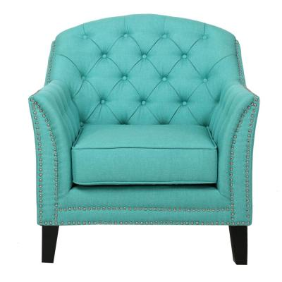 Lezandro Tufted Teal Fabric Club Chair with Stud Accents