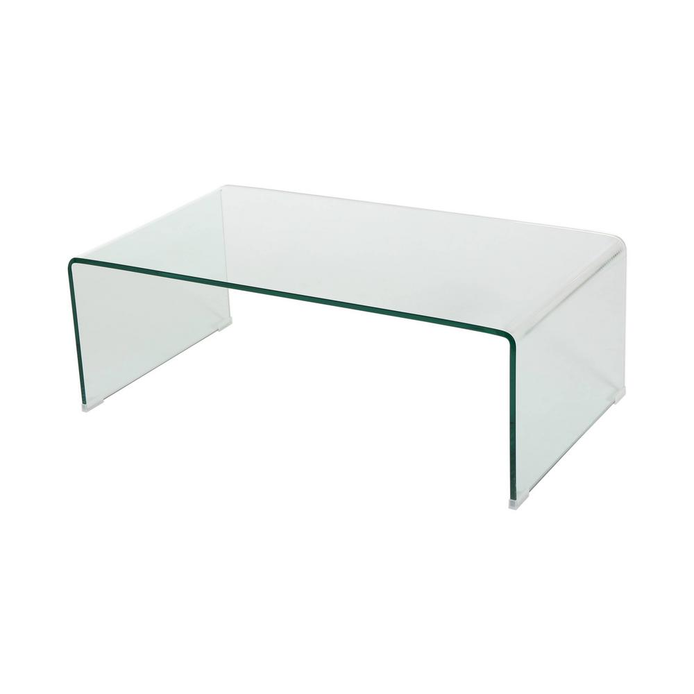 Puro Glass Coffee Table Clear: Noble House Pazel Clear Tempered Glass Coffee Table-296697
