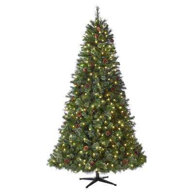 7 5 Ft Pre Lit Led Alexander Pine Artificial Christmas Tree With 550 Warm White Lights