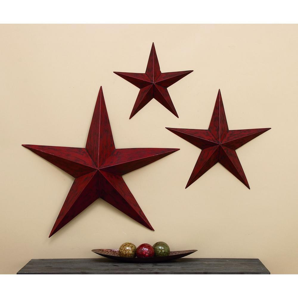 Litton Lane Rustic Iron Stars Wall Accents (Set of 3)