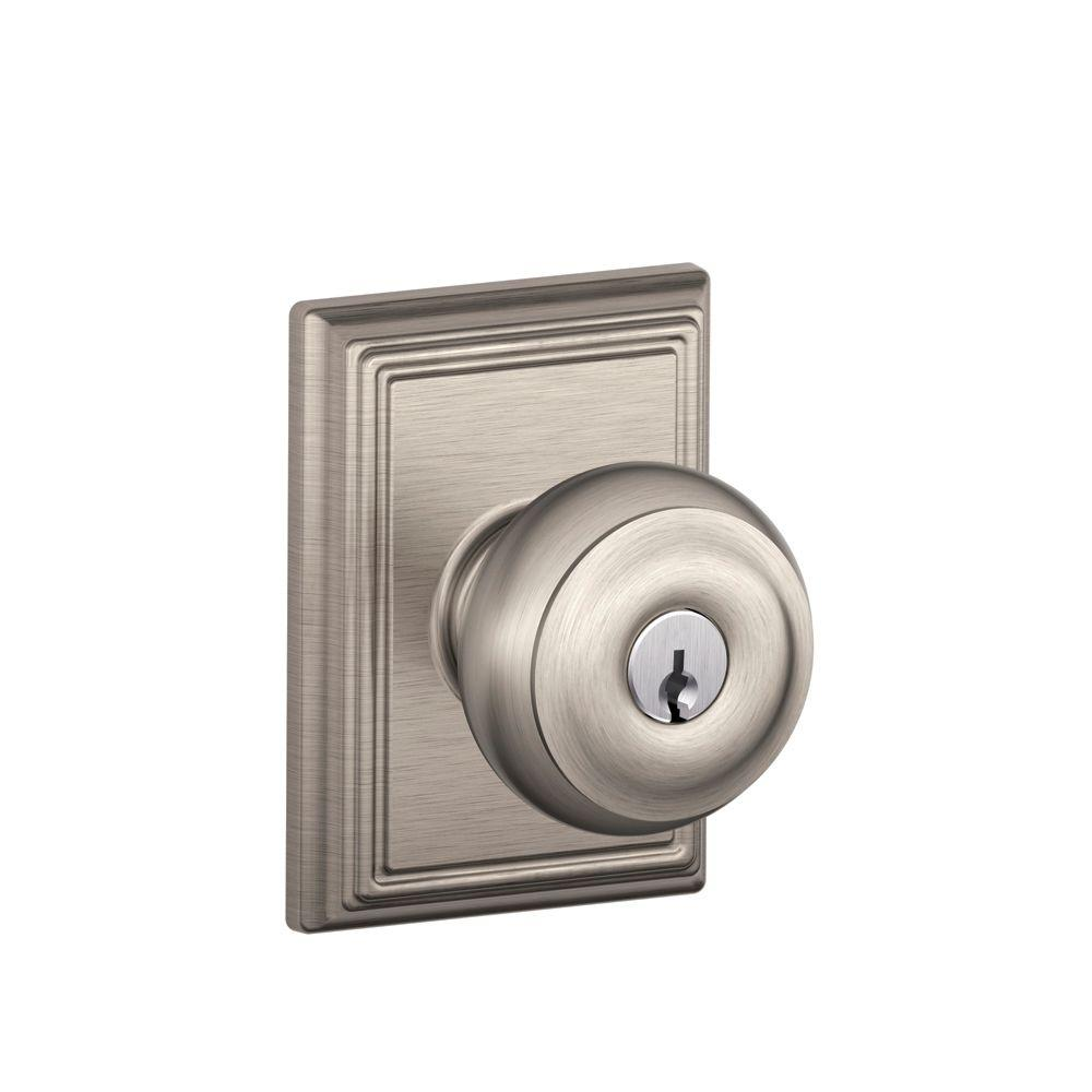 Lovely Schlage Georgian Satin Nickel Entry Door Knob With Addison Trim F51A GEO  619 ADD   The Home Depot Images