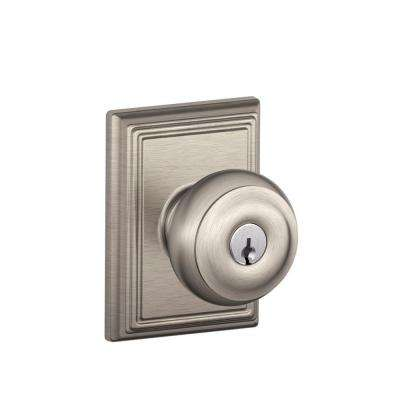Addison Collection Satin Nickel Georgian Keyed Entry Knob