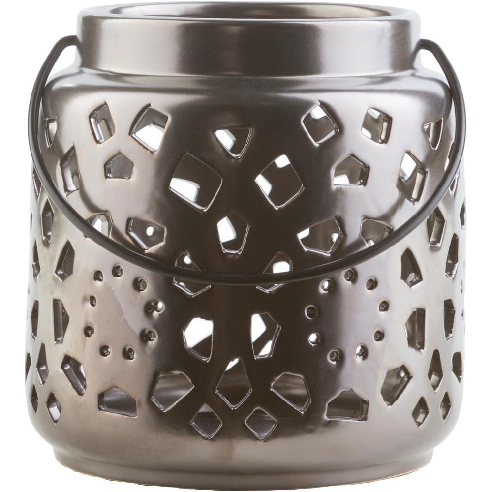 Kimba 6.5 in. Black Ceramic Lantern