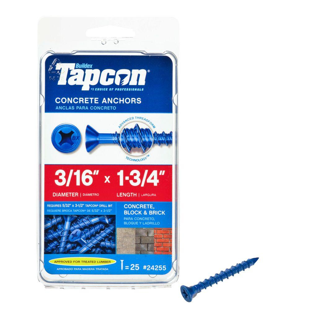 Tapcon 3/16 in. x 1-3/4 in. Phillips-Flat-Head Concrete Anchors (25-Pack)