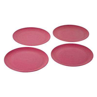 EVO Sustainable Goods 10 in. Pink Eco-Friendly Wood-Plastic Composite Plate (Set of 4)