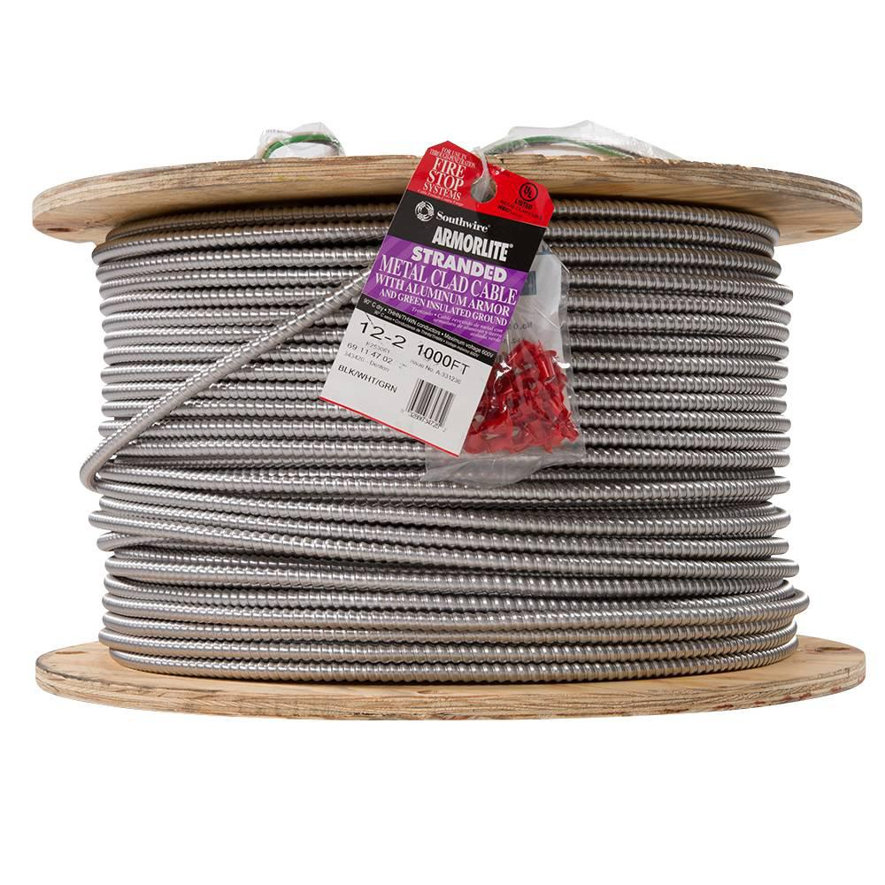 Southwire 12/2 x 1,000 ft. Stranded CU MC (Metal Clad) Armorlite Cable
