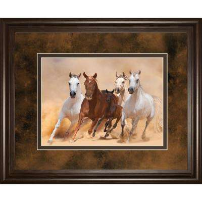 "34 in. x 40 in. ""HORSES IN DUST"" BY LOYA_YA Framed Printed Wall Art"