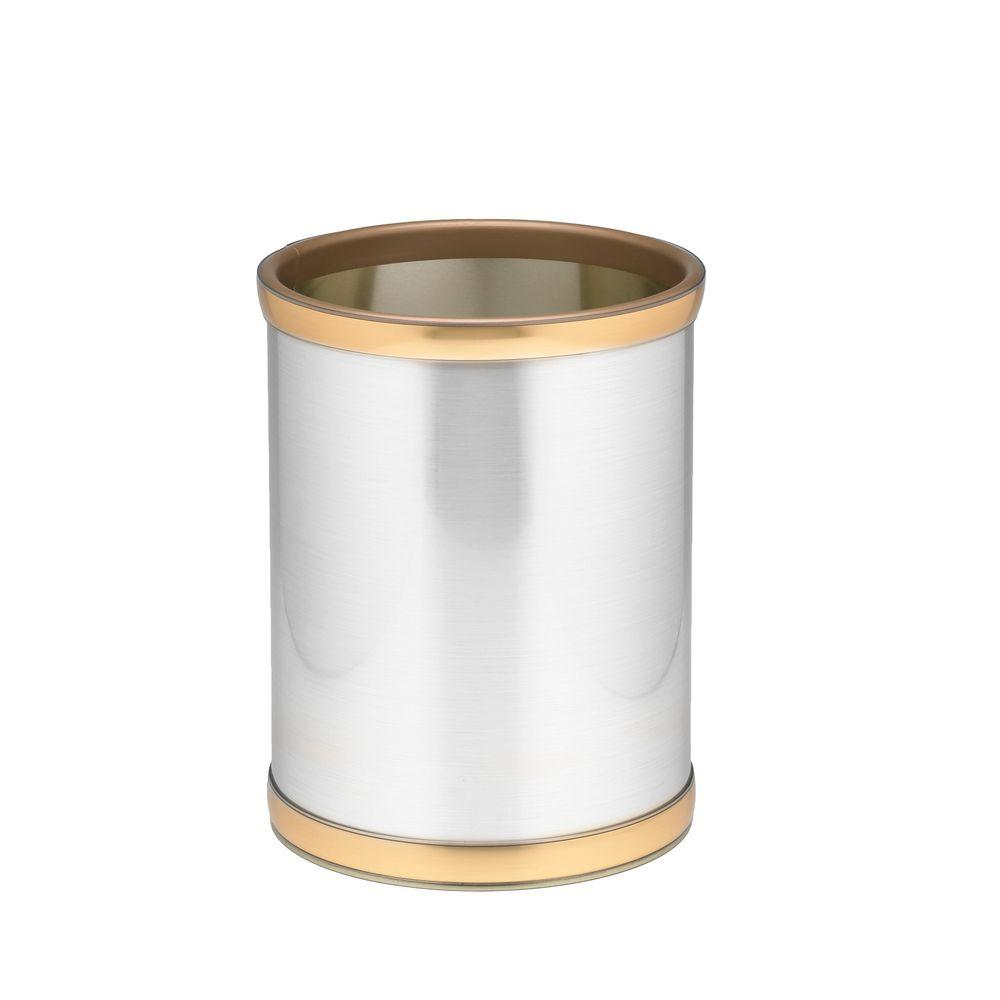 Kraftware 10 in. Round Brushed Chrome and Brass Mylar Trash Can