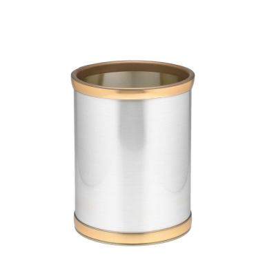 10 in. Round Brushed Chrome and Brass Mylar Trash Can