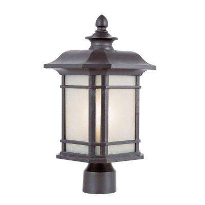 Outdoor Black Post Light With Tea Stain Linen Glass Shade