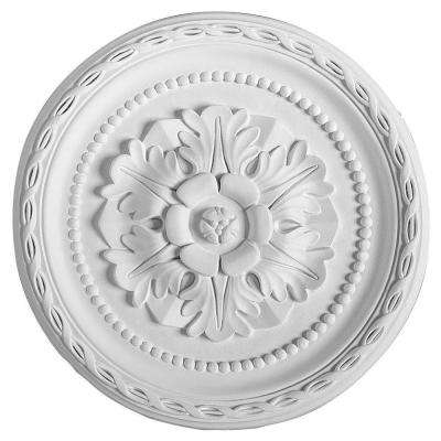 European Collection 11-1/4 in. x 1-3/8 in. French Twist Floral and Dots Polyurethane Ceiling Medallion