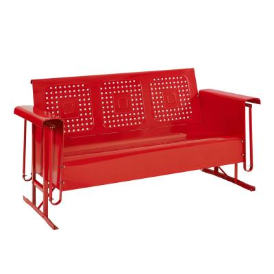 Bates 3-Person Red Metal Outdoor Glider