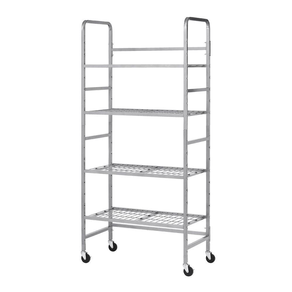 75.75 in. H x 35 in. W x 20 in. D 4-Shelf Steel Mobile Storage Rack-Silver