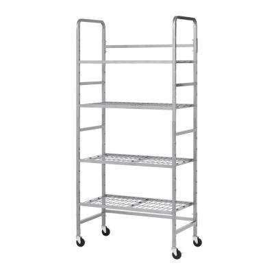 75.75 in. H x 35 in. W x 20 in. D 4-Shelf Steel Mobile Storage Rack-Silver