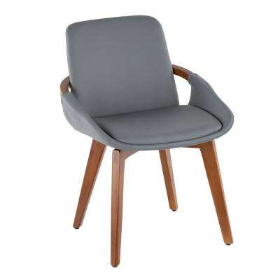 Cosmo Walnut Wood and Grey Faux Leather Chair