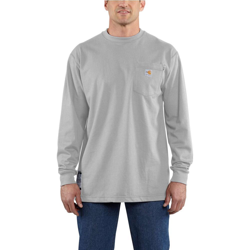 2a898369f Carhartt Men's Regular Medium Light Gray FR Force Cotton Long Sleeve T-Shirt