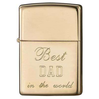 Zippo High Polish Brass Engraved Father's Day Lighter