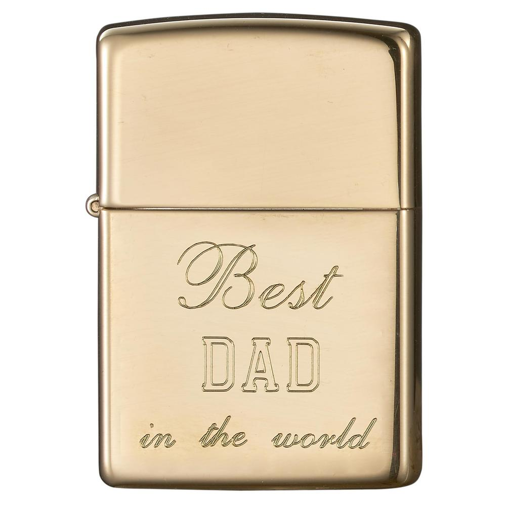 Visol Zippo High Polish Brass Engraved Fathers Day Lighter