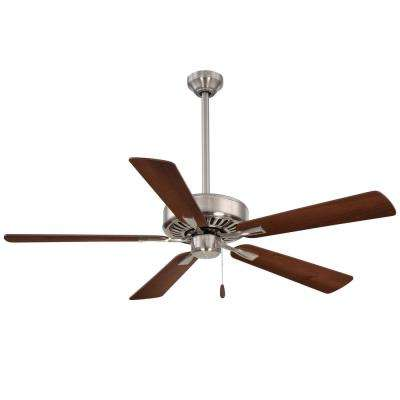 Contractor Plus 52 in. Indoor Brushed Nickel with Medium Maple/Dark Walnut Ceiling Fan