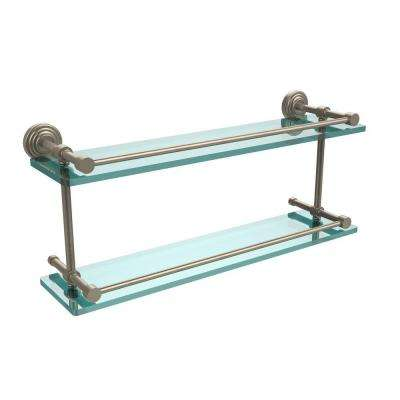 Waverly Place 22 in. L x 8 in. H x 5 in. W 2-Tier Clear Glass Bathroom Shelf with Gallery Rail in Antique Pewter
