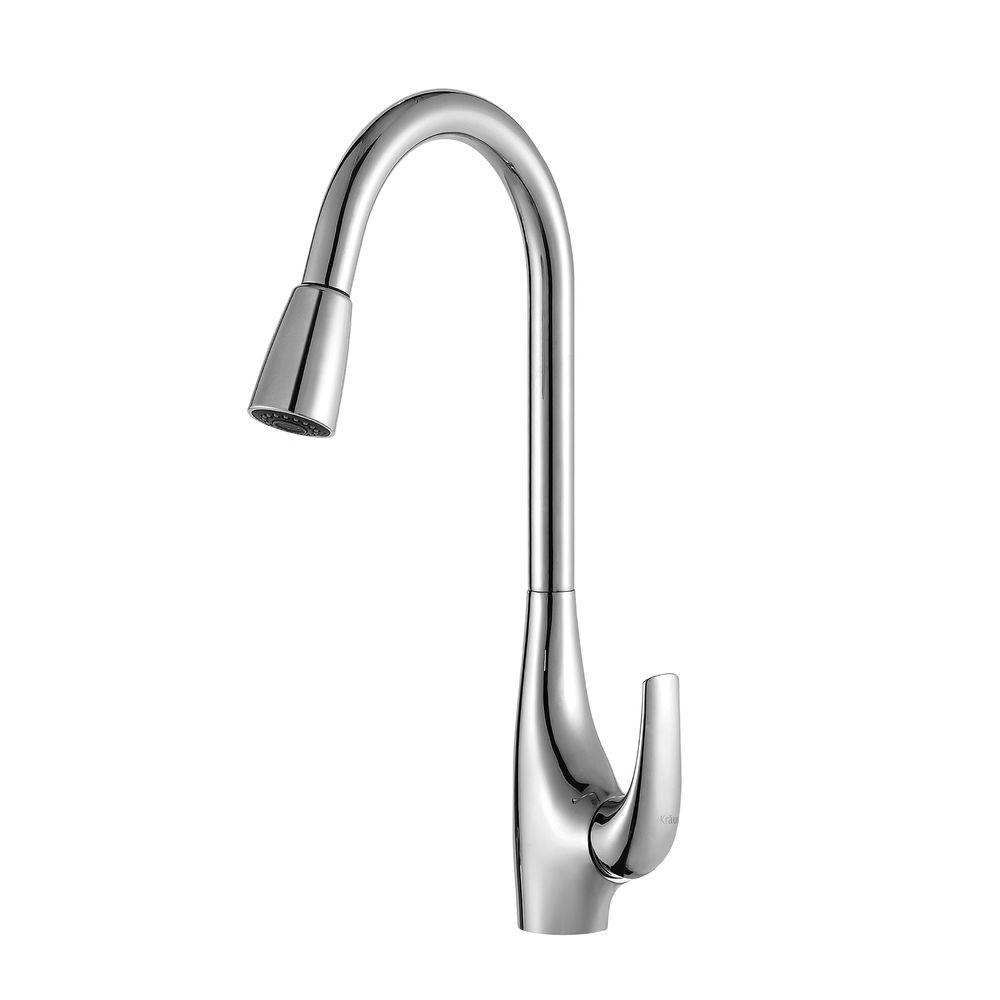 KRAUS Single Handle High Arc Pull Down Kitchen Faucet With Dual Function  Sprayer