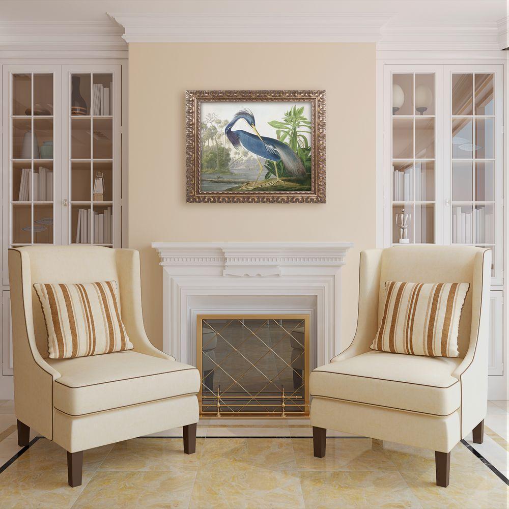 "16 in. x 20 in. ""Louisiana Heron"" by John James Audubon Framed Printed Canvas Wall Art"