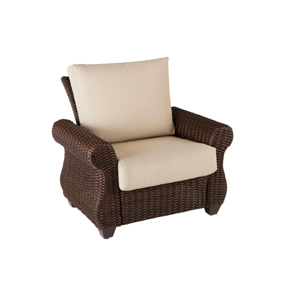 Hampton Bay Mill Valley Fully Woven Patio Lounge Chair with Parchment Cushion