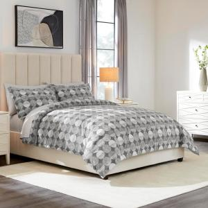 Jonah 3-Piece Reversible Geometric Charcoal King Comforter Set