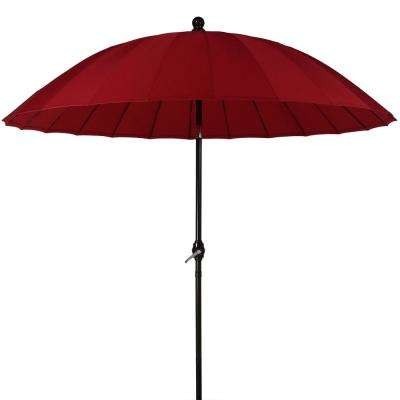 8 ft. Shanghai Aluminum Market Outdoor Tilt Patio Umbrella in Red with Crank