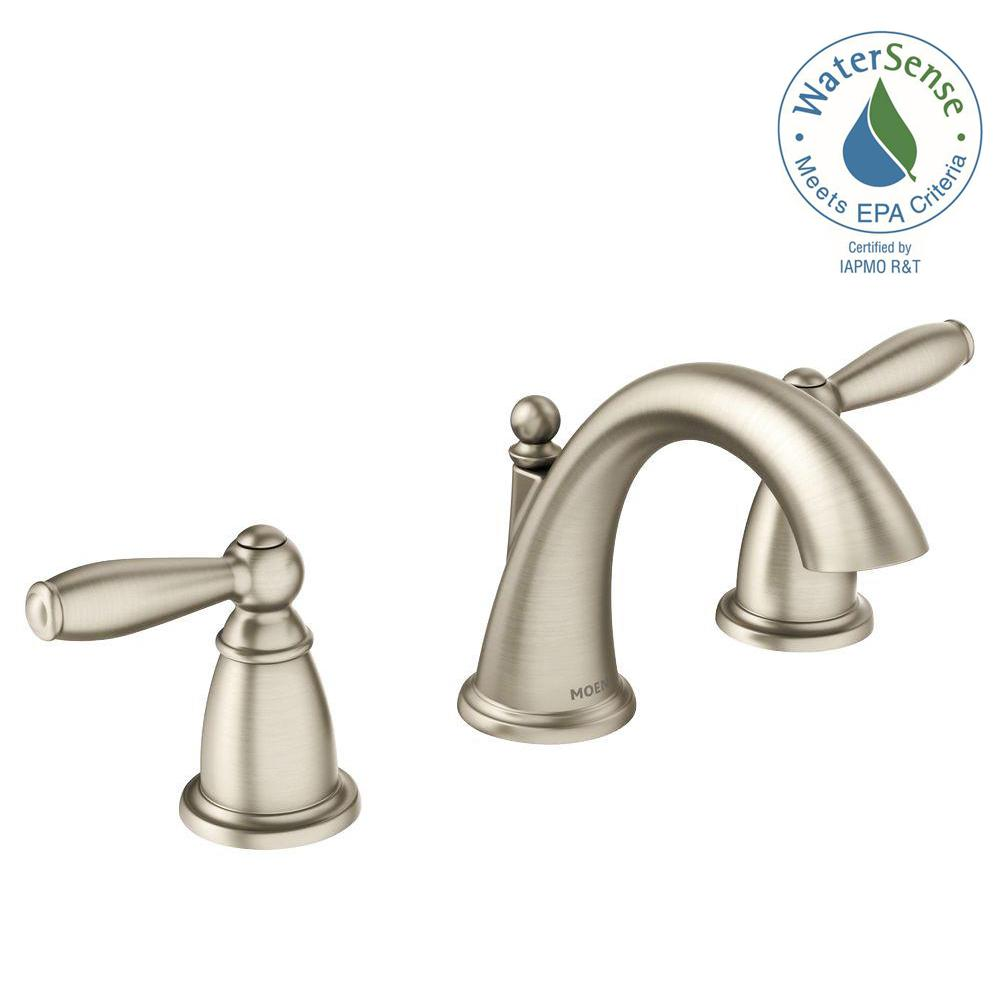 Moen brantford 8 in widespread 2 handle high arc bathroom for 8 bathroom faucet in brushed nickel