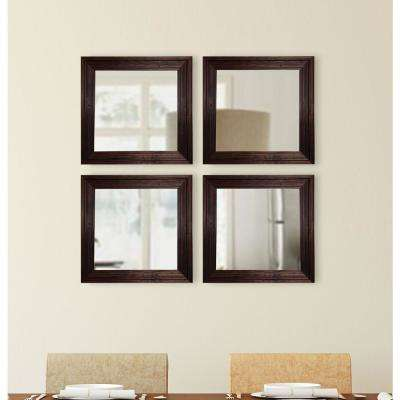 17.75 in. x 17.75 in. Barnwood Brown Square Wall Mirrors (Set of 4)