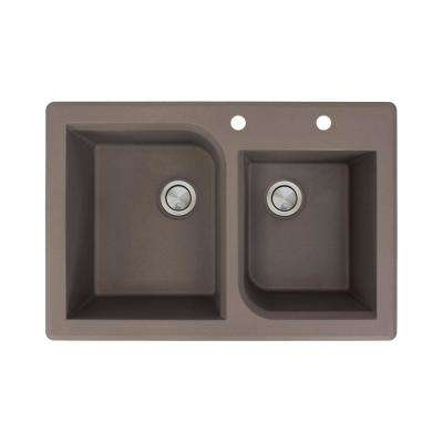 Radius Drop-in Granite 33 in. 2-Hole 1-3/4 Offset Double Bowl Kitchen Sink in Espresso