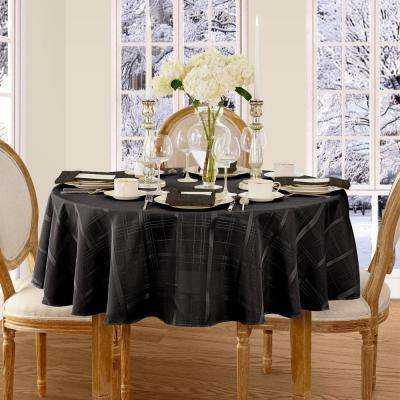 90 in. Round Black Elrene Elegance Plaid Damask Fabric Tablecloth