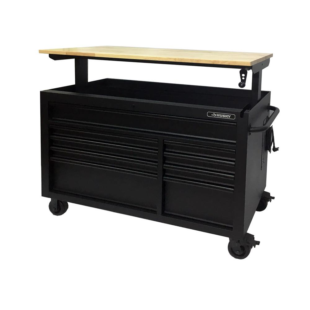 Marvelous Husky Heavy Duty 52 In W 9 Drawer Deep Tool Chest Mobile Workbench In Matte Black With Adjustable Height Hardwood Top Ibusinesslaw Wood Chair Design Ideas Ibusinesslaworg