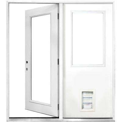 72 in. x 80 in. Clear Lite Primed White Fiberglass Prehung Right-Hand Inswing Center Hinge Patio Door with Med Pet Door
