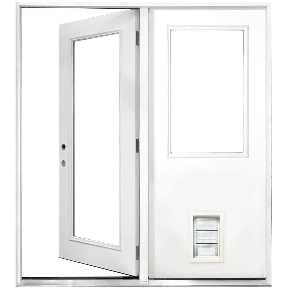 72 in. x 80 in. Clear Lite Primed White Fiberglass Prehung Right-Hand Inswing Center Hinge Patio Door with Med Pet Door