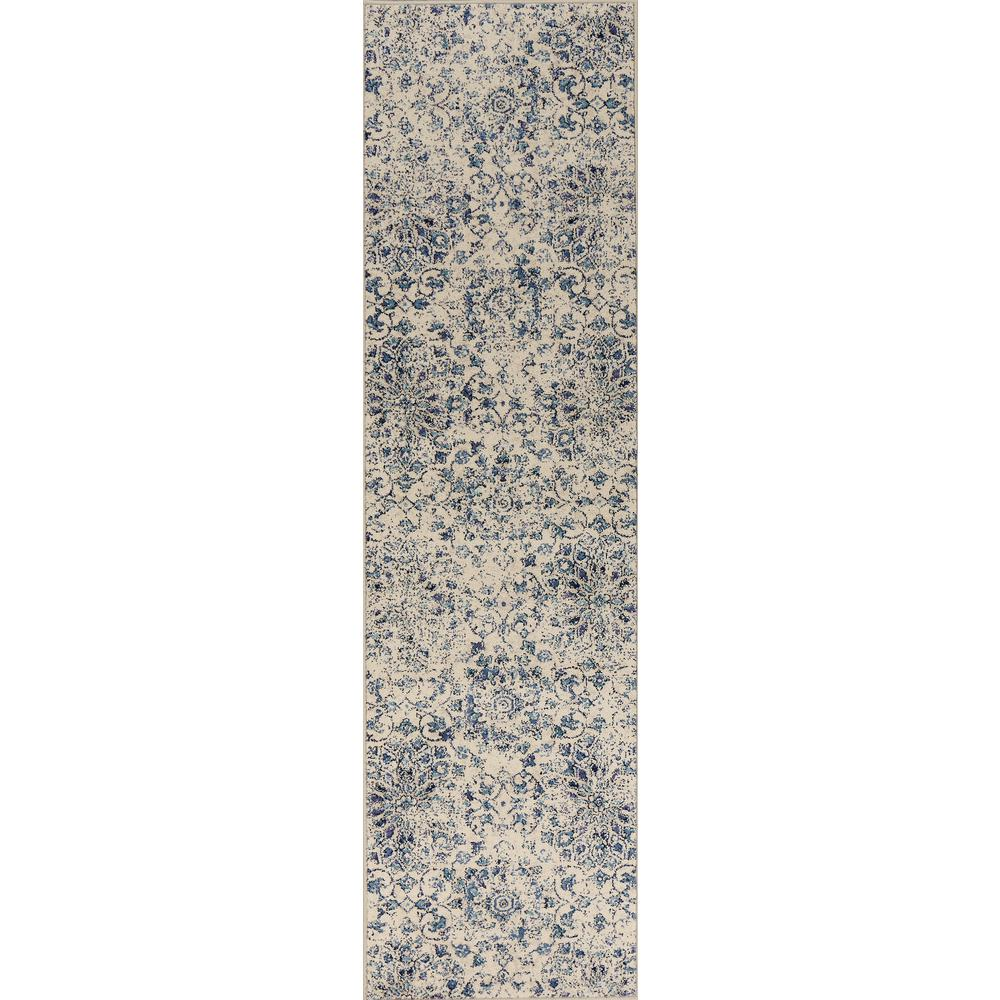 Kas Rugs Ivory/Blue Mosaic 2 ft. x 8 ft. Runner Rug was $64.4 now $35.42 (45.0% off)