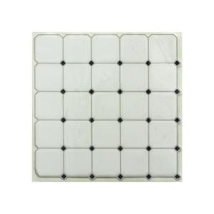 10.5 in. x 10.5 in. Black and White Diamond Peel and Stick Tiles (4-Pack)